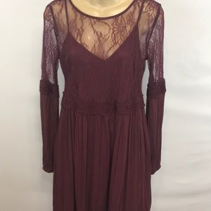 Abercrombie & Fitch Wine colored Lace Swing Dress.
